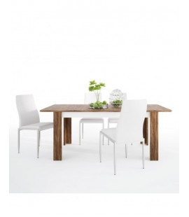 Dining set package Toledo extending dining table + 6 Milan High Back Chair White. (4287544/5010101)
