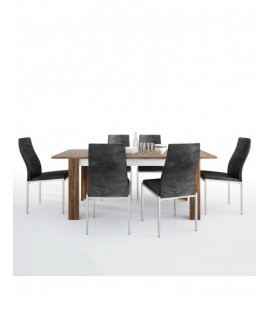 Dining set package Toledo extending dining table + 6 Milan High Back Chair Black. (4287544/5010120)