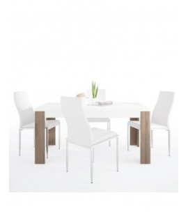Dining set package Toronto 160 cm Dining Table + 4 Milan High Back Chair White. (4204244/5010101)