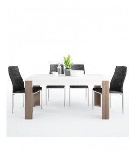 Dining set package Toronto 160 cm Dining Table + 4 Milan High Back Chair Black. (4204244/5010120)