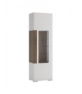 Toronto Tall narrow glazed display cabinet with internal shelves (inc Plexi Lighting) (TOV 02)