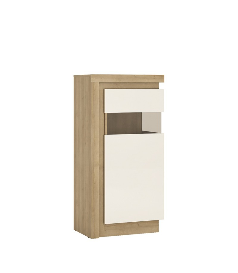 Lyon Narrow display cabinet (RHD) 123.6cm high (including LED lighting) (LYOV02 P)