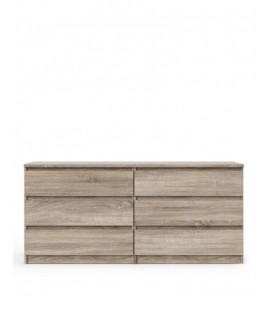Naia Wide Chest of 6 Drawers (3+3) in Truffle Oak (70296cj)