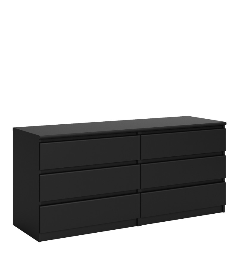 Naia Wide Chest of 6 Drawers (3+3) in Black Matt (71072gm)