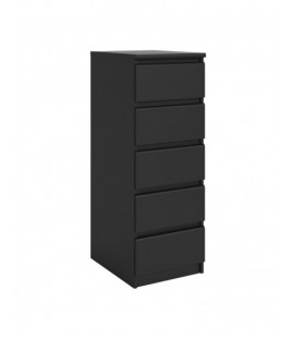 Naia Narrow Chest of 5 Drawers in Black Matt (71073gm)