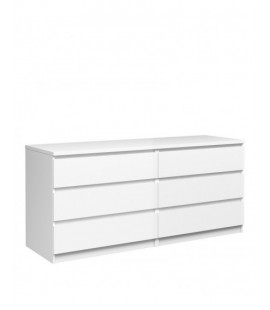 Naia Wide Chest of 6 Drawers (3+3) in White High Gloss (76232uu)