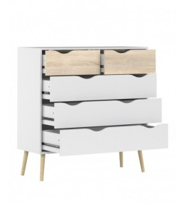 Oslo Chest of 5 Drawers (2+3) in White and Oak (7545649ak)