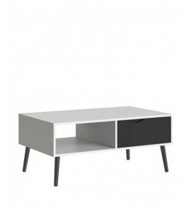 Oslo Coffee Table 1 Drawer 1 Shelf in White and Black Matt (7538449gm)