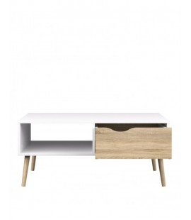 Oslo Coffee Table 1 Drawer 1 Shelf in White and Oak (7538449ak)