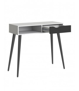 Oslo Console Table 1 Drawer 1 Shelf in White and Black Matt (7538849gm)