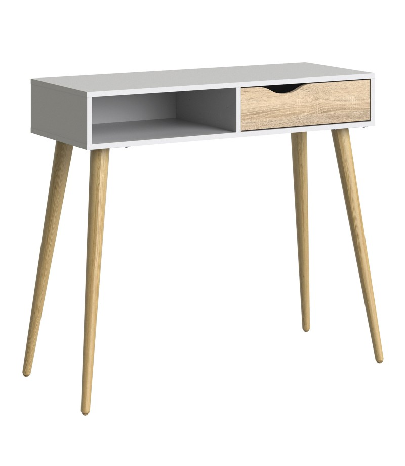 Oslo Console Table 1 Drawer 1 Shelf in White and Oak (7538849ak)