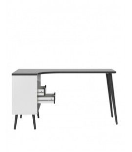 Oslo Desk 2 Drawer in White and Black Matt (7545049gm)