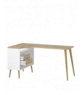 Oslo Desk 2 Drawer in White and Oak (7545049ak)