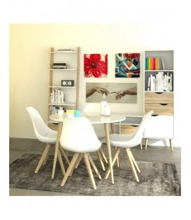 Oslo Dining Table - Small (100cm) in White and Oak (753864949)