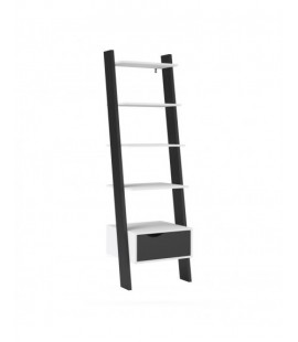 Oslo Leaning Bookcase 1 Drawer in White and Black Matt (7538549gm)