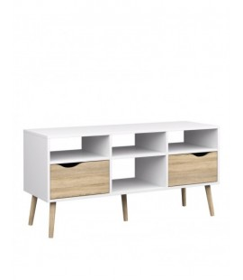 Oslo TV Unit - Wide - 2 Drawers 4 Shelves in White and Oak (7539149ak)