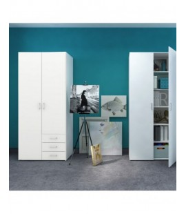 Space Wardrobe - 2 Doors 3 Drawers in White (704254949)