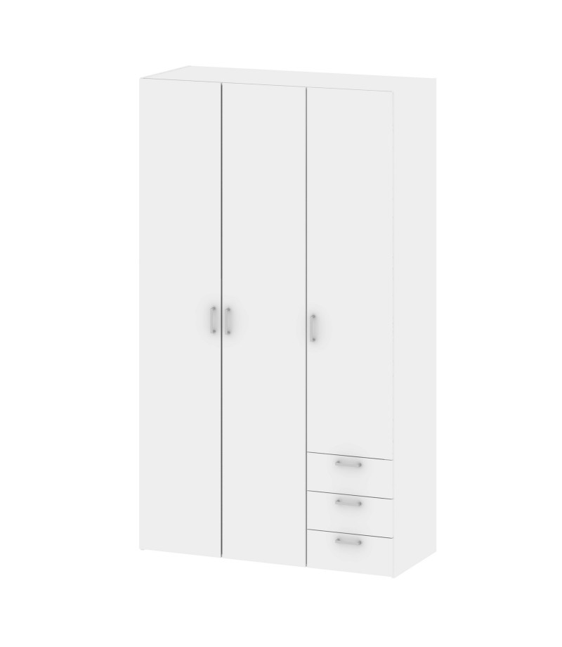 Space Wardrobe - 3 Doors 3 Drawers in White (704094949)