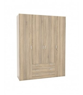 Space Wardrobe - 4 Doors 3 Drawers in Oak (70410akak)