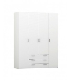 Space Wardrobe - 4 Doors 3 Drawers in White (704104949)