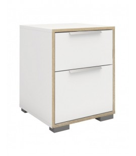 Line Bedside 2 Drawers in White and Oak (702394949ak)