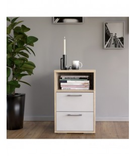 Homeline Bedside 2 Drawers in Oak with White High Gloss (2000265akuu)