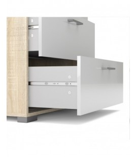 Homeline Chest of 4 Drawers in Oak with White High Gloss (79937akuu)