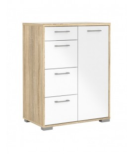 Homeline Sideboard - 4 Drawers 1 Door in Oak with White High Gloss (79938akuu)