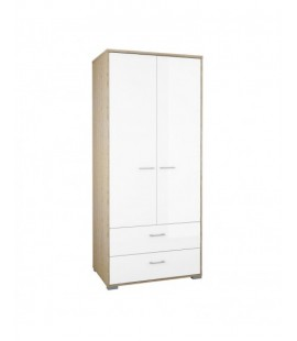 Homeline Wardrobe - 2 Doors 2 Drawers in Oak with White High Gloss (75328akuuuu)