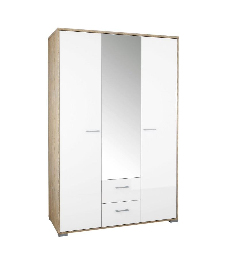 Homeline Wardrobe - 3 Doors 2 Drawers in Oak with White High Gloss (75329akuuuu)