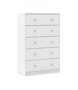 May Chest of 5 Drawers in White (703294949)