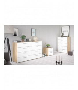 Pepe Bedside 2 Drawers in Oak with White High Gloss (70070akuu)