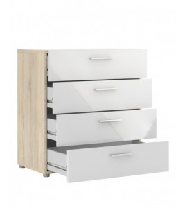 Pepe Chest of 4 Drawers in Oak with White High Gloss (70505akuu)