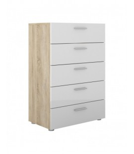 Pepe Chest of 5 Drawers in Oak with White High Gloss (70508akuu)