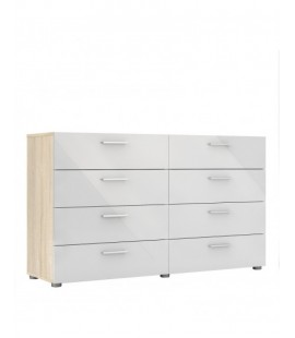 Pepe Wide Chest of 8 Drawers (4+4) in Oak with White High Gloss (70073akuu)