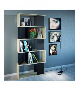 Maze Open Bookcase 4 Shelves in Oak and Black (71735ak86)