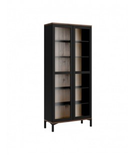 Roomers Display Cabinet Glazed 2 Doors in Black and Walnut (9217686dj)