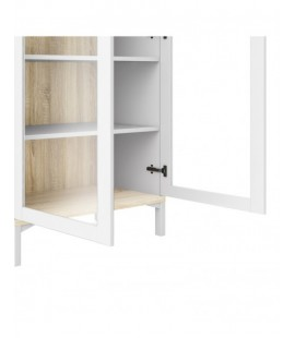 Roomers Display Cabinet Glazed 2 Doors in White and Oak (9217649ak)