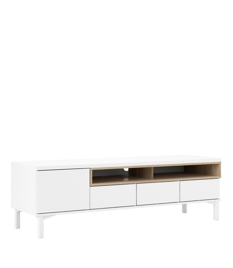 Roomers TV Unit 3 Drawers 1 Door in White and Oak (9217149ak)