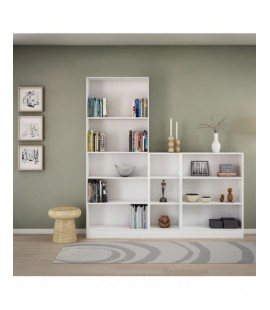 Basic Low Narrow Bookcase (2 Shelves) in White (7177449)