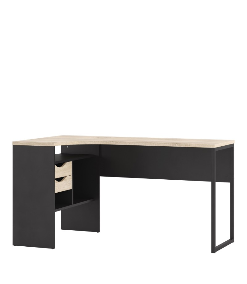Function Plus Corner Desk 2 Drawers in Black Matt and Oak (80118gmak)