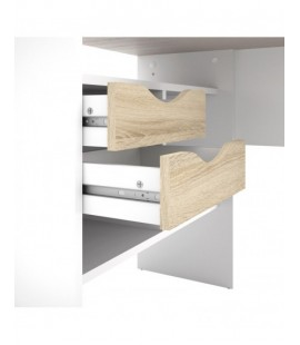 Function Plus Corner Desk 2 Drawers in White and Oak (8011849ak)