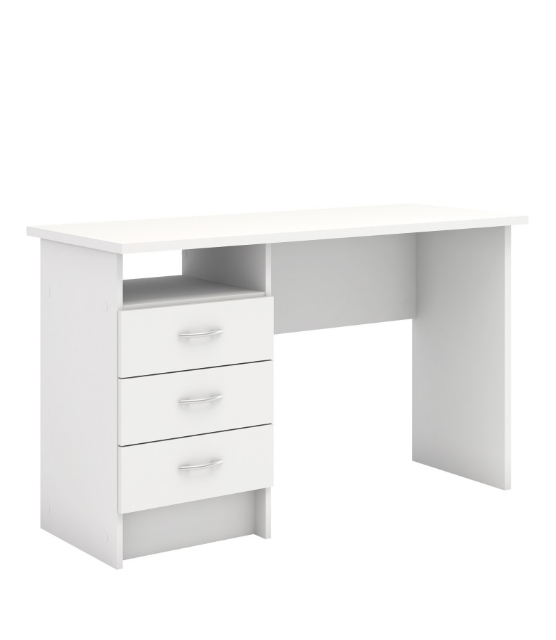 Function Plus Desk 3 Drawers in White (801344949)