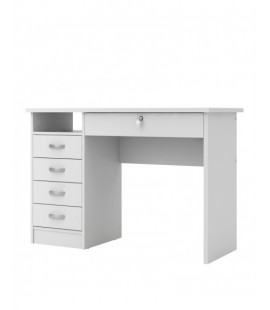 Function Plus Desk 5 Drawers in White (801634949)