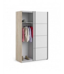Verona Sliding Wardrobe 120cm in Oak with White Doors with 2 Shelves ()