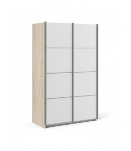 Verona Sliding Wardrobe 120cm in Oak with White Doors with 5 Shelves ()