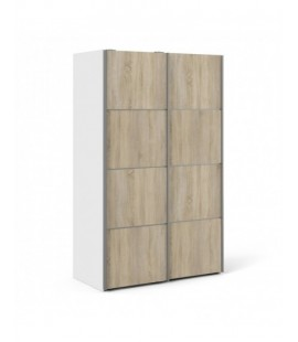 Verona Sliding Wardrobe 120cm in White with Oak Doors with 5 Shelves ()