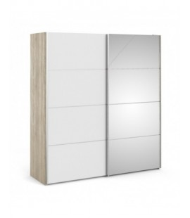 Verona Sliding Wardrobe 180cm in Oak with White and Mirror Doors with 5 Shelves ()