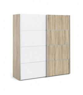Verona Sliding Wardrobe 180cm in Oak with White and Oak doors with 5 Shelves ()