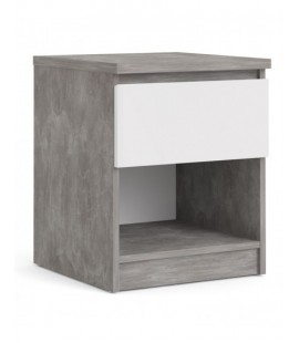 Naia Bedside - 1 Drawer 1 Shelf in Concrete and White High Gloss (76238gxuu)